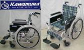 ■■美品★カワムラサイクル アルミ製自走式車椅子 座幅42㎝/背折れ、介助ブレーキ/KAJ202SB■■