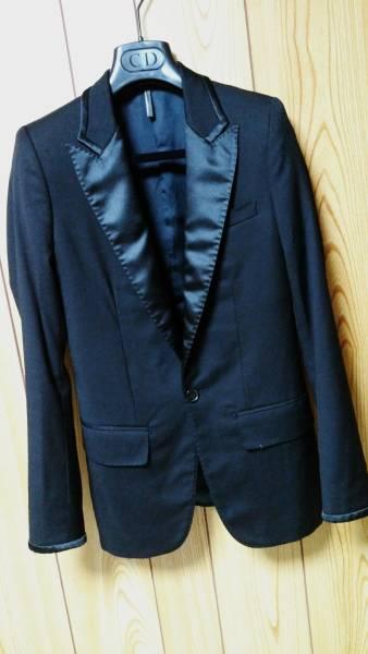 国内正規 レア Dior Hommeディオールオム スモーキングジャケット黒 最小38 ブラック 光沢ラペル×ライン 1BテーラードJK 6H 男女兼用可★_ディオールオム 6HスモーキングラインJK黒