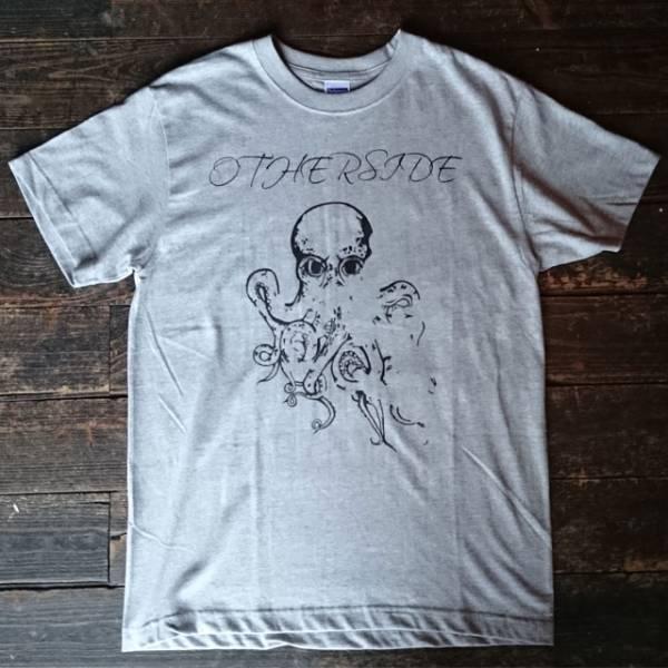 ハンドプリント Tシャツ グレー タトゥー デザイン (検) レッチリ ジョンフルシアンテ タコ バンドTシャツ