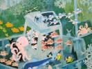 ジミー大西: 魚の家 :水彩画:肉筆保障:裏・表サイン