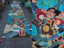古布 筒描き武者絵幟8.8m◆お祭り/季節行事/伝統工芸/神社