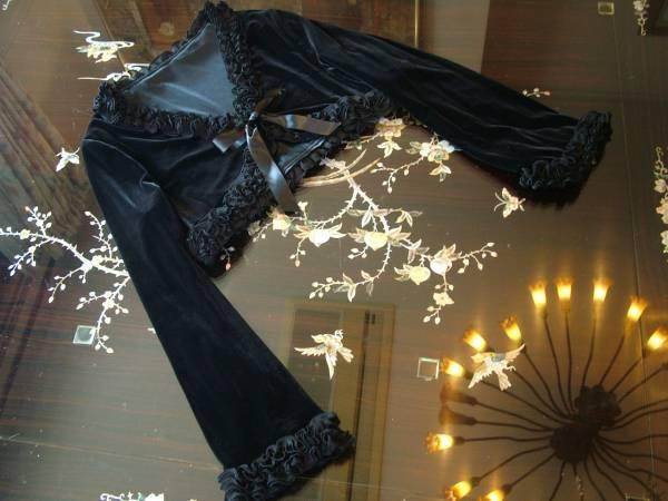 17号 ベロア ベルベッド 黒 ボレロ フォーマル ジャケット 羽織 上着 ブラック 結婚式 パーティー リボン フリル 大きいサイズ 新品_画像2