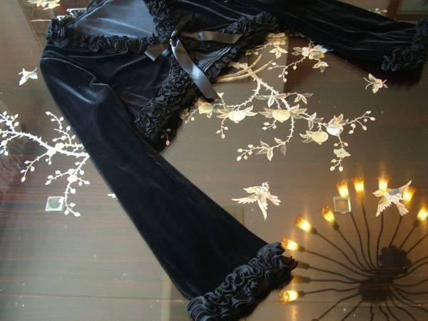17号 ベロア ベルベッド 黒 ボレロ フォーマル ジャケット 羽織 上着 ブラック 結婚式 パーティー リボン フリル 大きいサイズ 新品_画像3