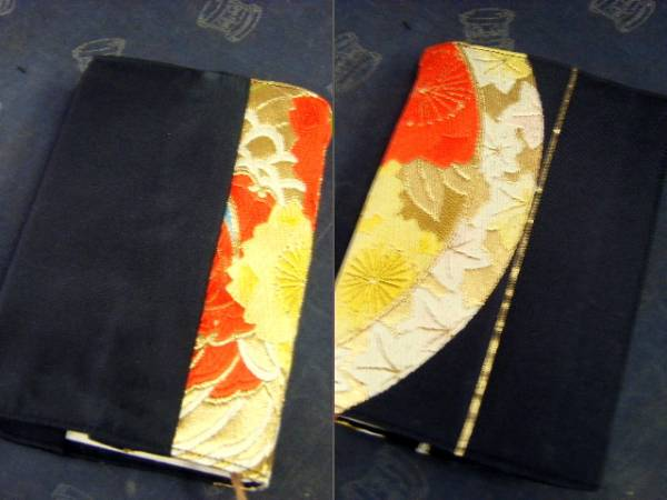 yu float [ silk * obi remake * hand made ] book cover * black ground * red flower yellow flower * separate volume
