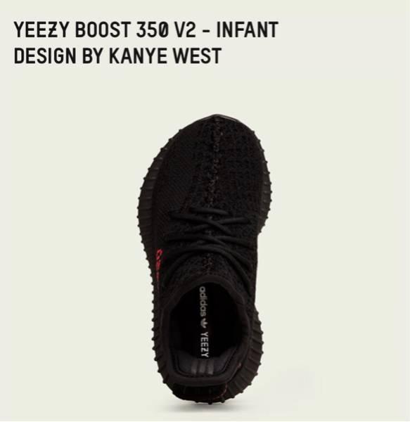 YEEZY BOOST 350 V2 INFANT BLACK RED BB6372 INFANTS AND