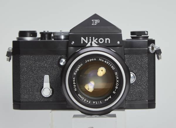 NIKON F アイレベル ブラック 50mmF1.4 純正フード ケース付き 中古美品_画像2