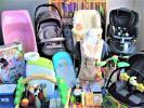 大量豪華出産準備セット/回転型チャイルドシート/ベビーカー/☆折りたたみ日本製ハイタイプミニベビーベッド/エルゴ抱っこヒモ等
