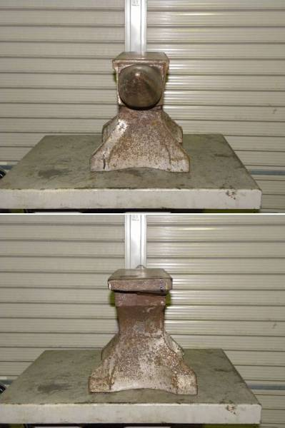 中古 アンビル 金床 角付ハンマー台 総重量86.2kg 全長65cm 高さ28cm_画像3
