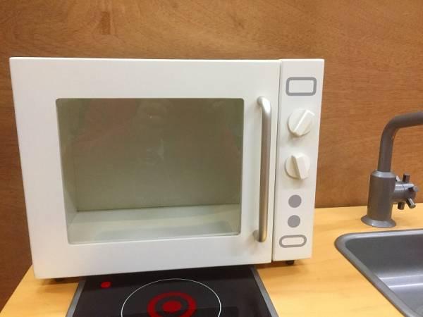 電子レンジ イデアポート 展示品 棚 おままごと キッチン 小物入れ IDEAPORT 廃盤 木製
