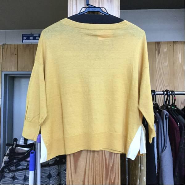 MACPHEE 麻素材のカラシ色の七分袖ニット☆サイズ1_画像2