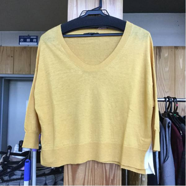 MACPHEE 麻素材のカラシ色の七分袖ニット☆サイズ1