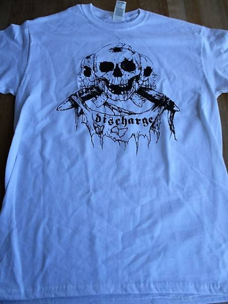 DISCHARGE Tシャツ skull 白M / chaos uk disorder doom amebix broken bones