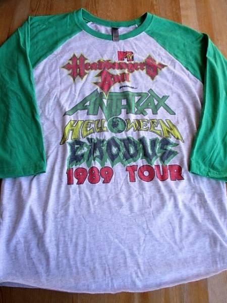 MTV Headbangars Ball 1989 Tour ANTHRAX HELLOWEEN EXODUS ラグラン七分袖 Tシャツ 緑M ヴィンテージ レプリカ
