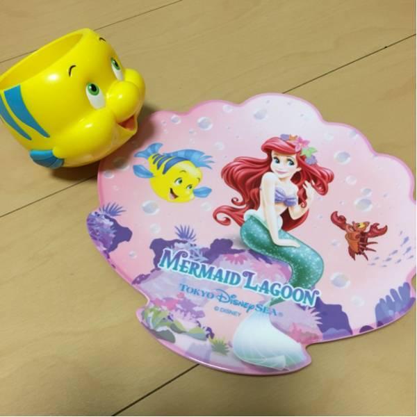 アリエル スーベニアプレート フランダー カップ ディズニー マーメイドラグーン 皿 ディズニーグッズの画像