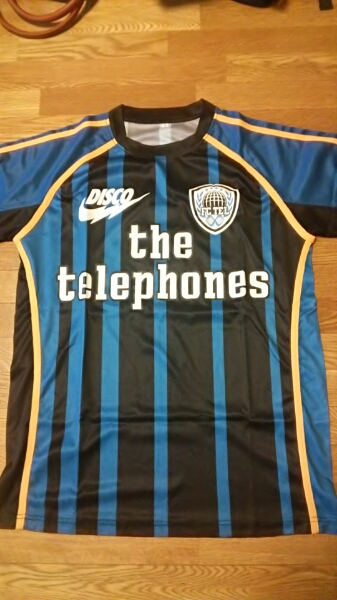 the telephones テレフォンズ サッカーシャツ ブルー Lサイズ