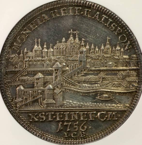 1円~NGC MS61 レーゲンスブルク 都市景観 Taler 銀貨 1756 ICB