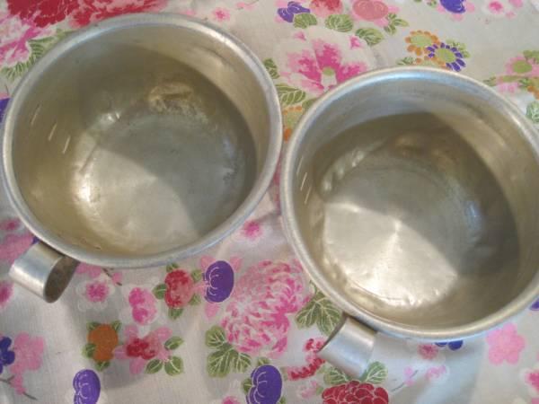 昭和レトロ 懐かしいアルマイト製給食のコップ2個セット_画像3