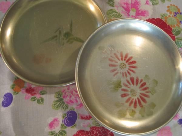 昭和レトロ 懐かしいアルマイト製皿2枚セット 絵入り