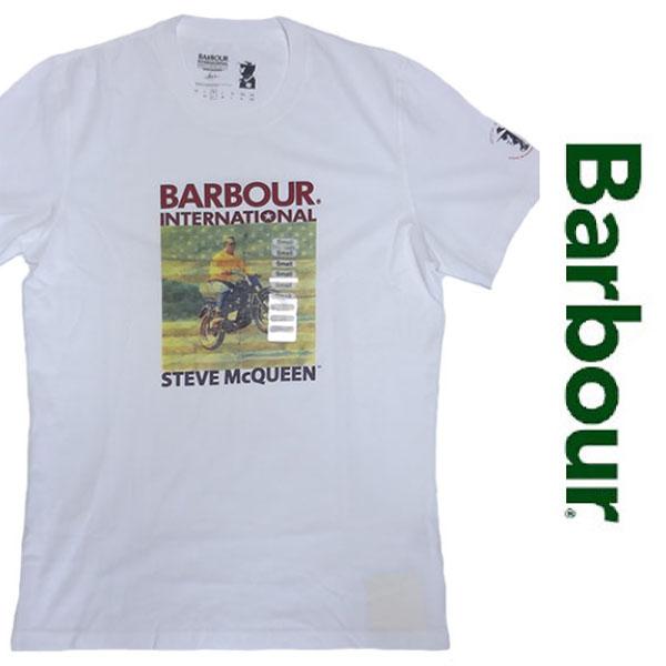 新品 Barbour Steve McQueen PRINTED S/S T-SHIRT バブアー スティーブ マックイーン プリント 半袖 Tシャツ ホワイト カットソー S 正規
