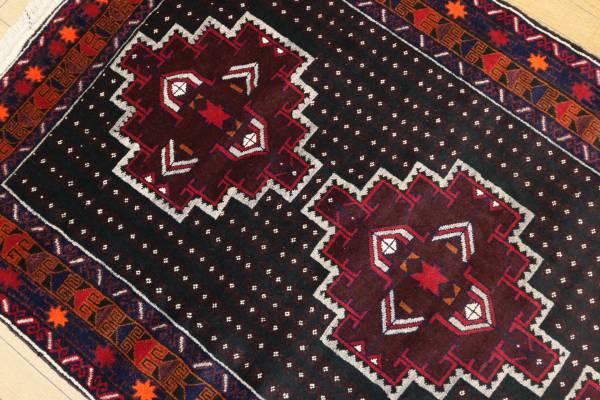 新品 目玉品 深い色艶 アフガニスタンラグ バルーチ族 手織り絨毯 トライバルラグ 112x191cm/GH928