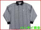 ジャガード編★Black&White ブラック&ホワイト ロゴデザイン 長袖ポロシャツ Mサイズ / ゴルフ / 日本製