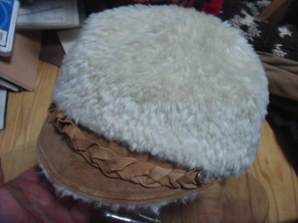 1702カシラCA4LAツバ皮革レザー フェイクファーCAPキャスケット帽子キャップ パイル_画像1