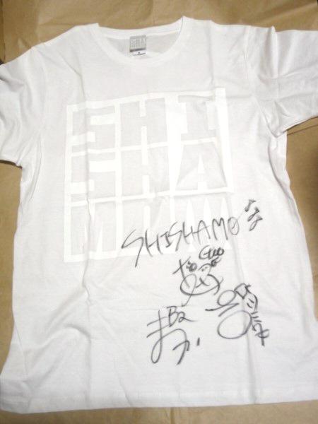 [グッズ] SHISHAMO サイン入り ロゴ Tシャツ (白×白) ししゃモバ限定カラー (非売品) / ホワイト ししゃも