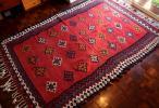 最高級 50年以上の時を経た迫力の大判オールドキリム 草木染め 手織り ペルシャ絨毯