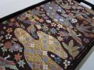 ◆極上の逸品◆唐織◆えんじと焦げ茶の帯地に大変カラフルな花や鳥が素敵◆