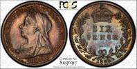 【1円~】英国 1893年 ヴィクトリア女王 6ペンス銀貨 PCGS/PR63!!【稀少1312枚】