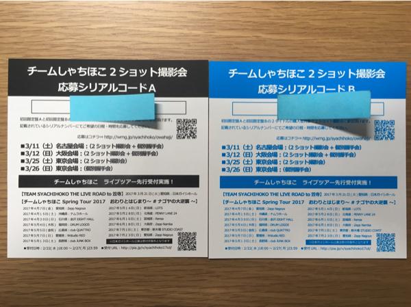 チームしゃちほこ 2ショット会 シリアルコードABセット ライブグッズの画像