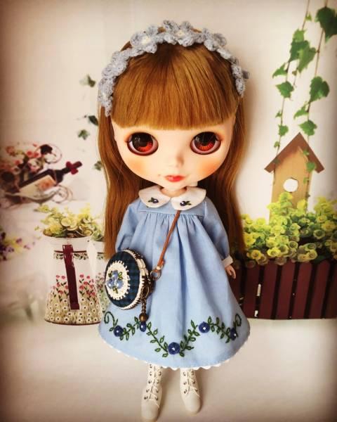 Blythe OF★お花刺繍の春ワンピースセット(ブルー)★