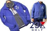 e165新品4.1万 23区GOLF 【MEN】ポーラテックアルファストレッチ ブルゾンM 23区ゴルフ 着脱ベスト付き 春ライトジャケット ブルー×グレー
