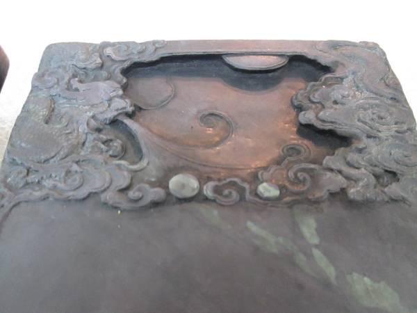 中国古硯 雲龍彫刻端渓硯 中国美術 書道具 箱付き_画像1