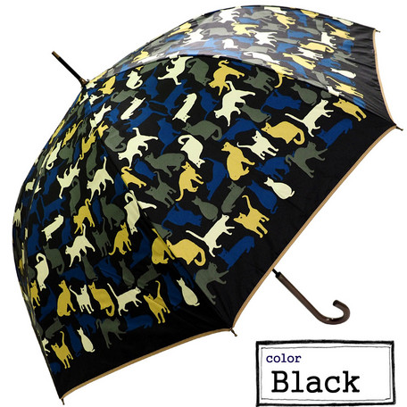 新品 ブラック ねこ柄  OL必見 プレゼント ホワイトデー  マダム 高級 カントリー 晴雨兼用 雨傘 日傘 レディース 長傘