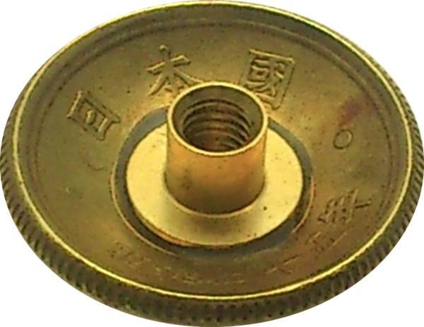 アウトレット コンチョ 古銭 橘1円 黄銅貨 ネジ式 1個_画像2
