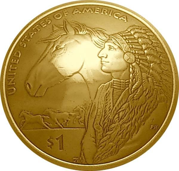 コンチョ 1ドル 「ホースライド」2012年 (平成24年) ループ式_画像1
