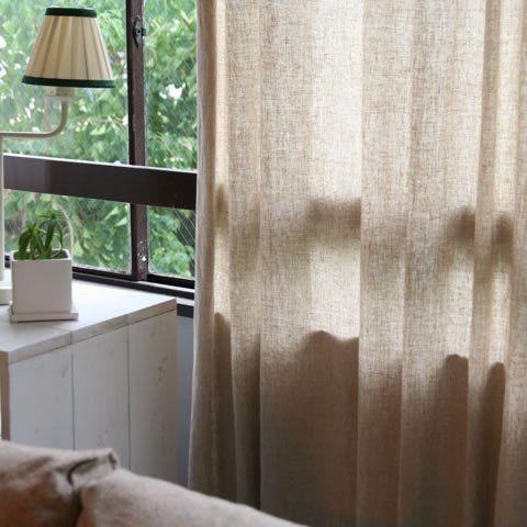 麻100%の優しいカーテン ベージュ 幅100cm×高200cm [両開き] 2枚セット