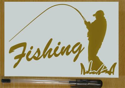 ★★釣り人 フィッシングステッカー 金色か銀色選べる 501_画像1