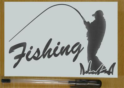 ★★釣り人 フィッシングステッカー 金色か銀色選べる 501_画像2
