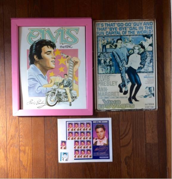 エルビス プレスリー ブリキポスター 2点 切手シート セット スチール看板 スチールポスター