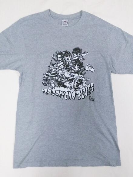 ミッシェルガンエレファント リーバイスコラボ Tシャツ / THEE MICHELLE GUN ELEPHANT TMGH WORLD PSYCHO BLUES グレー チバユウスケ