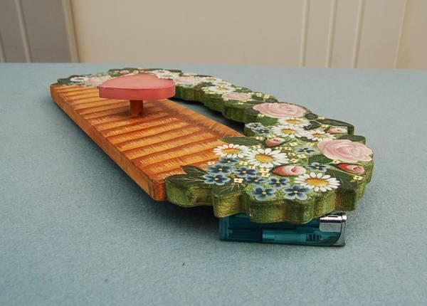 木製ハンガー 壁掛け 装飾画:薔薇 フック・ハート形_画像3