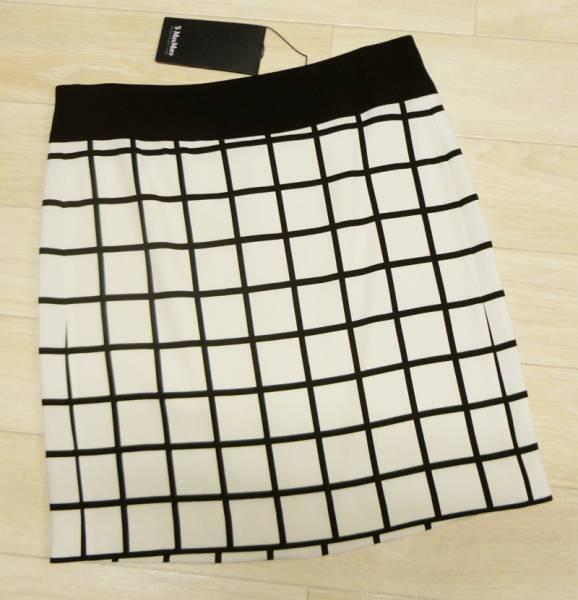新品78%OFF マックスマーラ Max Mara デザインスカート ブラック×ホワイト 38サイズ_画像1