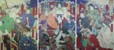 /HANA/珍品!本物 浮世絵 三枚続 古今高名鏡 楊洲周延画!徳川家康・豊富秀吉・岩倉具視・他