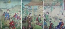 /HANA/本物 浮世絵 美人画 中古倭風俗 幕府之姫君茶湯花月の図 三枚続 国貞画!茶道