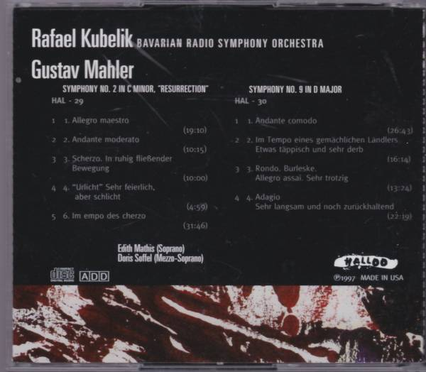 マーラー 交響曲第2番「復活」 第9番 2CD クーベリック バイエルン放送交響楽団【HALLOO 極美品】_画像2