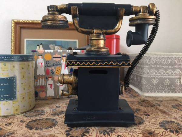 new goods! antique small articles * telephone machine . model * - savings box - navy blue color