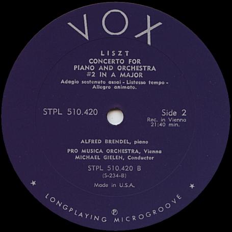 《LPレコード》 リスト (LISZT) : ピアノ協奏曲 第1番 変ホ長調 + ピアノ協奏曲 第2番 イ長調 / ALFRED BRENDEL (Piano) [米盤]_■ ウィーン・プロ・ムジカ管弦楽団: 演奏