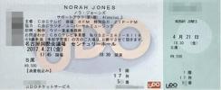 ノラ・ジョーンズ/名古屋/名古屋国際会議場 センチュリーホール 4/21(金)1枚 Norah Jones